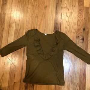 Olive green Jcrew never worn top with ruffles